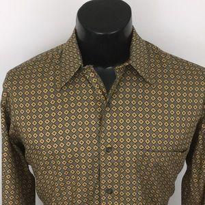 IKE Behar Mens Button Up Shirt Tan Geometric M